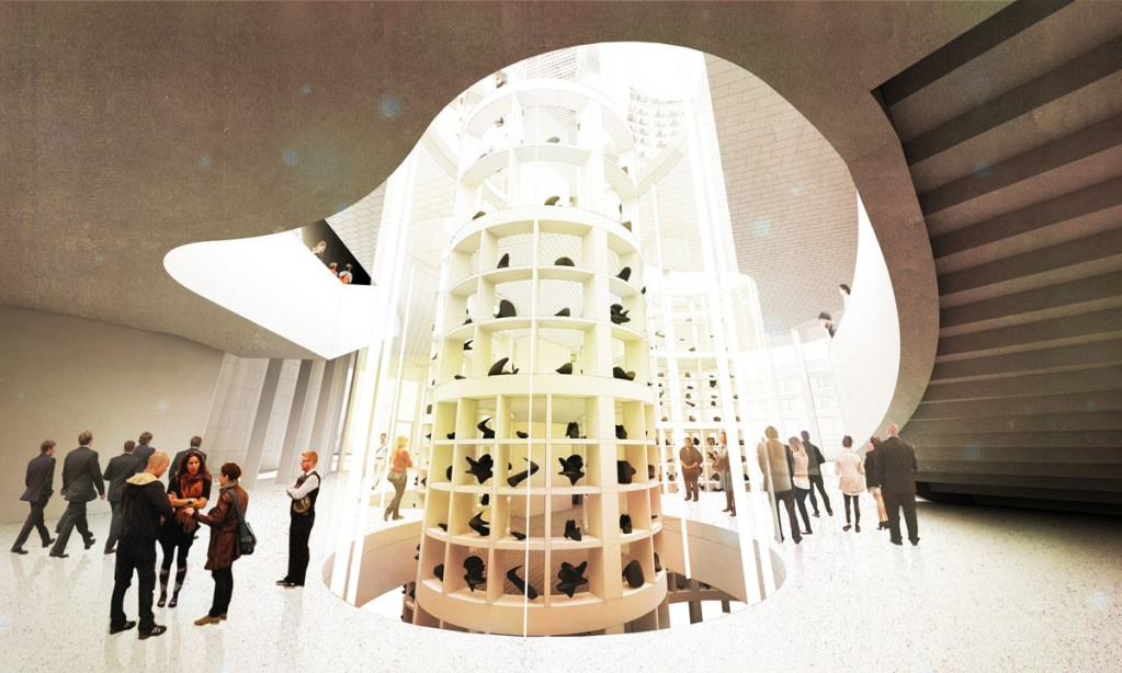 An architectural mock-up of the gallery's interior. Curved walls and lots of natural light are the main features.