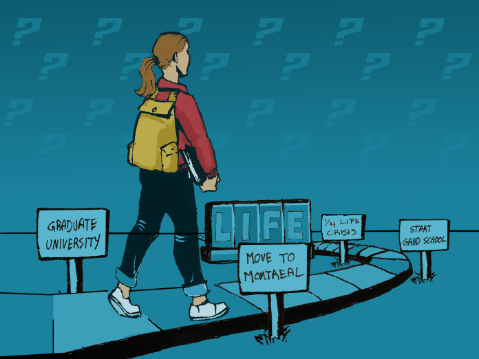 A young white woman walks along a board game path, past signs labelled