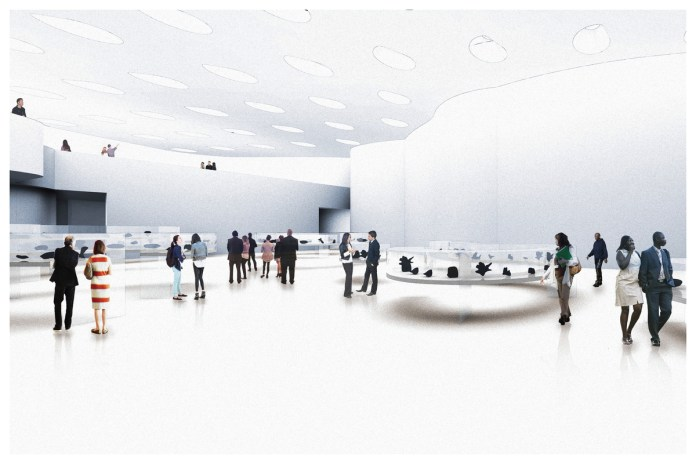 Architect's mock-up of a gallery space. Patrons walk around a white curved room.