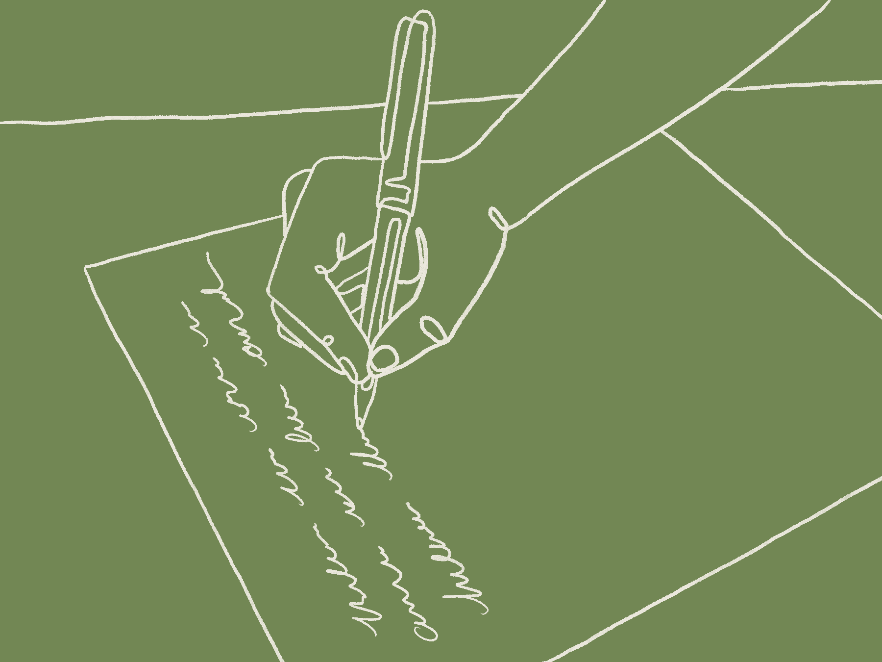 An illustration in white lines on a green background. It shows a hand writing on a piece of paper.