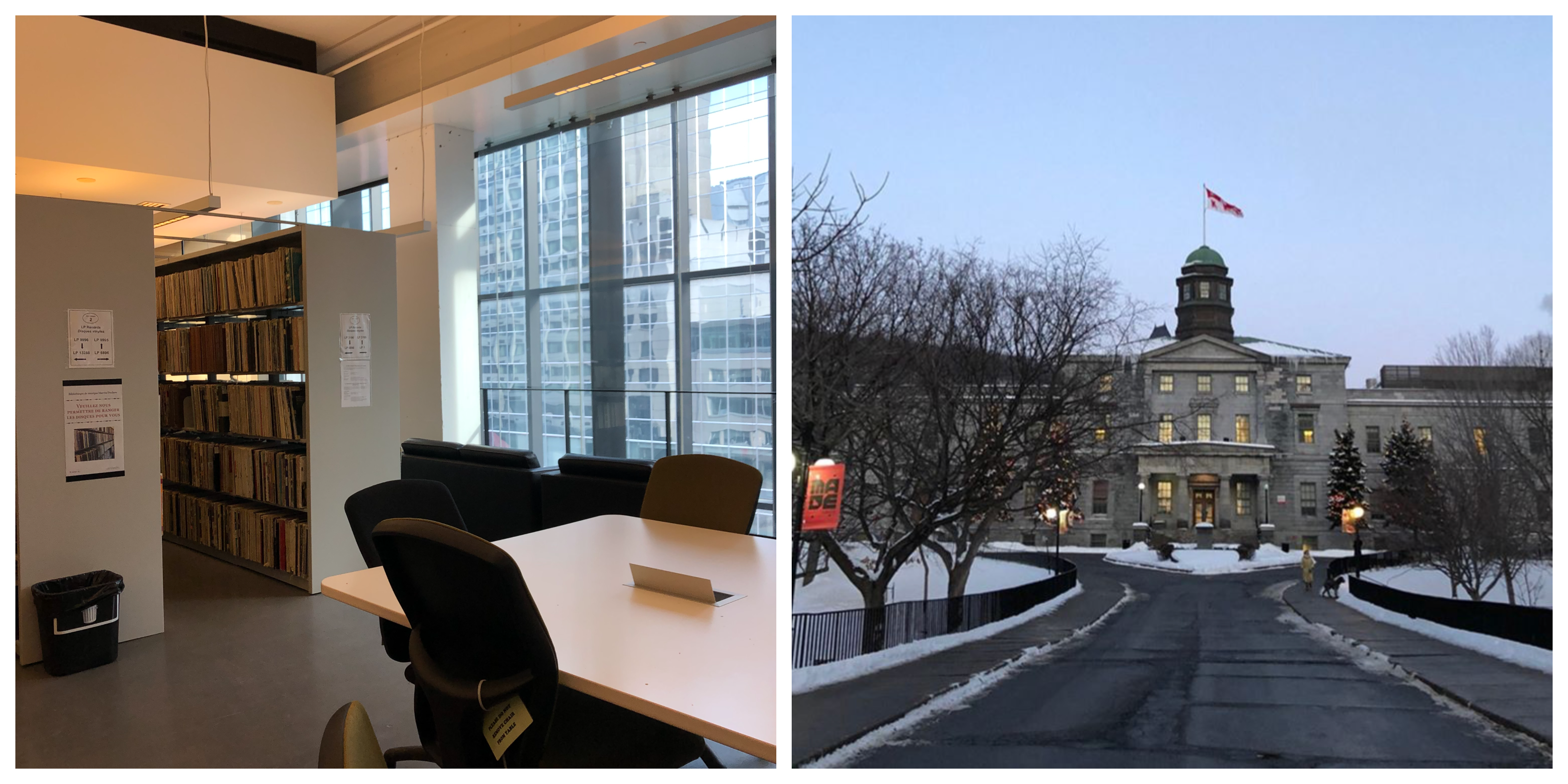 Two photos side-by-side. On the left, a university library study area. On the right, a photo of a McGill campus building in winter.