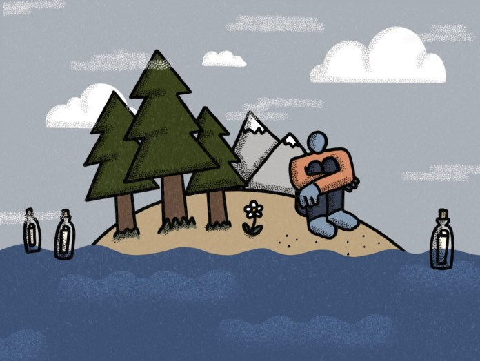 An illustration of a figure sitting on an island. There are 3 bottles floating in the water around them, with messages rolled up inside.