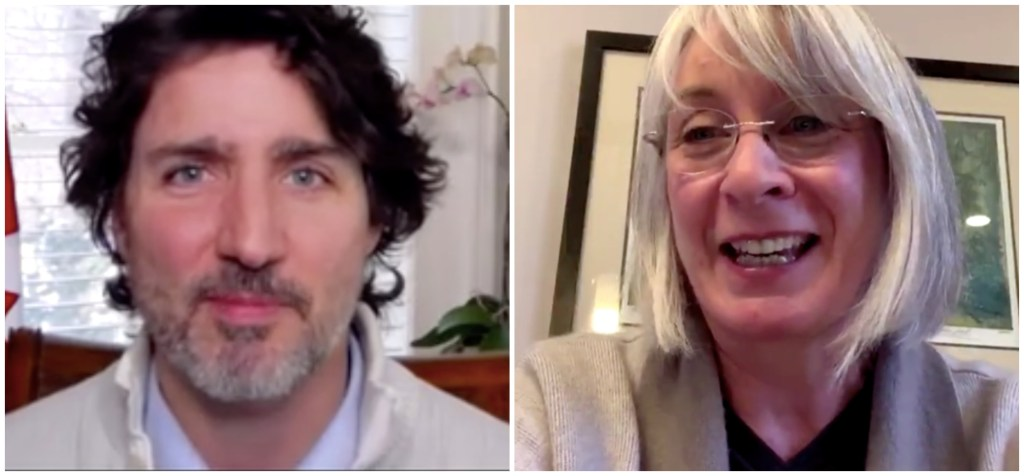 Prime Minister Justin Trudeau is shown on the left and Health Minister Patty Hajdu is on the right.