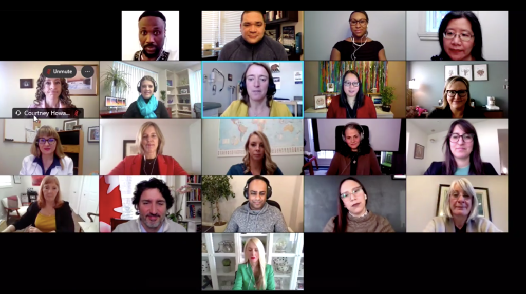 A screenshot of the Feb. 11 livestream. There are 20 people shown in the call, including the Prime Minister.