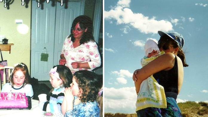 Two old photos side by side. In one, a child blows out her birthday candles while her mother watches. In the other, the same mother holds her daughter as a baby.
